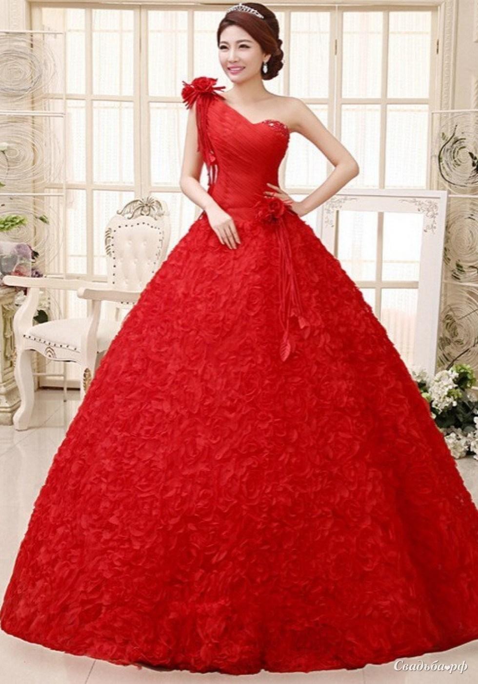 Фото свадебных платьев красного цвета пышные